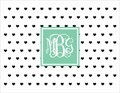 Note Cards - Hearts and Monogram