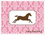 Note Cards - Horse w/Pink Damask Background (Name)