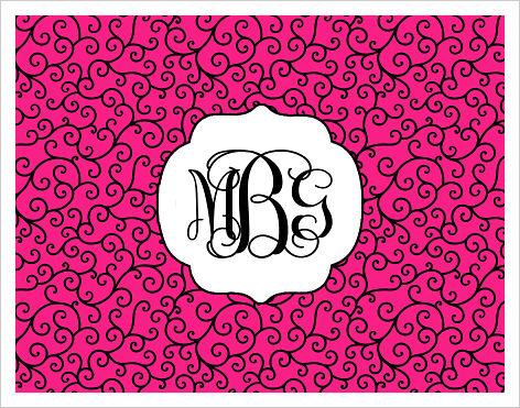 Note Cards - Hot Pink and Curly Q's w/Monogram