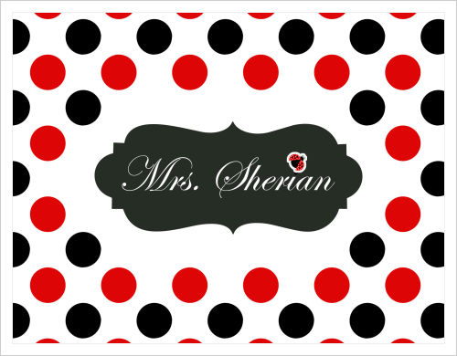 Note Cards - Large Red and Black Polka Dots w/Ladybug