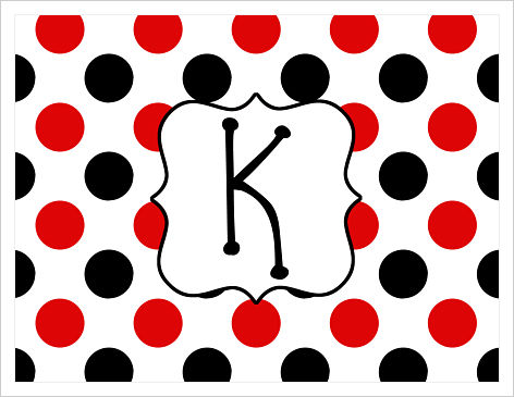 Note Cards - Large Red and Black Polka Dots