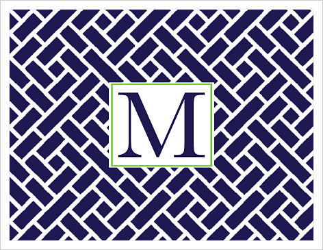 Note Cards - Lattice (Navy/White) With Initial
