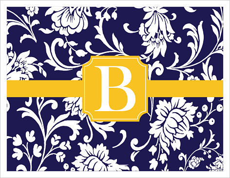 Note Cards - Lovely Flowers (Navy, White and Gold)