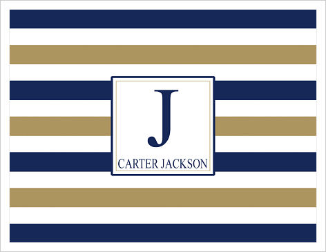 Note Cards - Masculine Stripes (Navy and Gold)