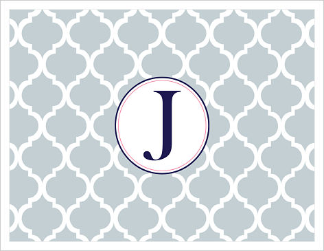 Note Cards - Modern Lattice (White,Navy and PinK) W/Initial or Monogram