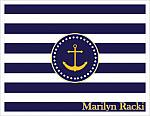 Note Cards - Navy and White Stripes w/Gold Anchor (Full Name)