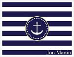 Note Cards - Navy and White Stripes w/White Anchor (Full Name)