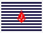Note Cards - Navy Stripes With Red Anchor (Initial)