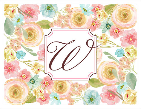 Note Cards - Pastel Flowers With Initial