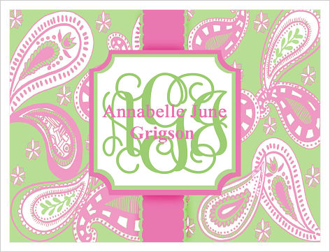 Note Cards - Pink and Green Paisley
