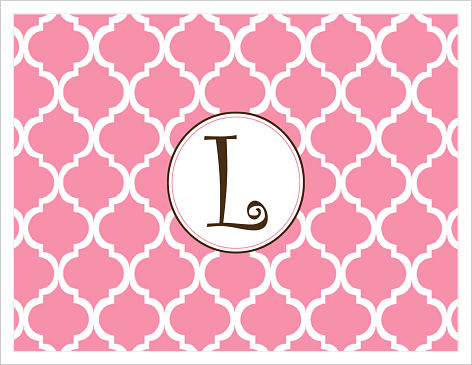 Note Cards - Pink and White Lattice