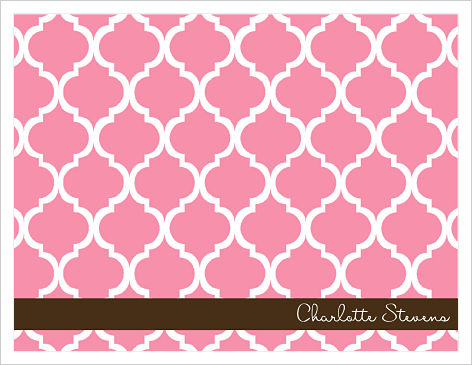 Note Cards - Lattice 2 (Pink/White) Brown Bar