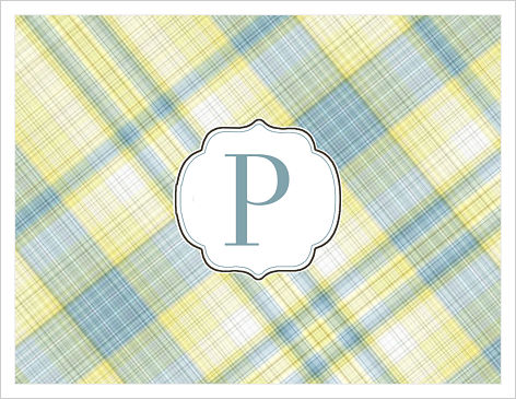 Note Cards - Plaid (Yellow/Blue) With Initial