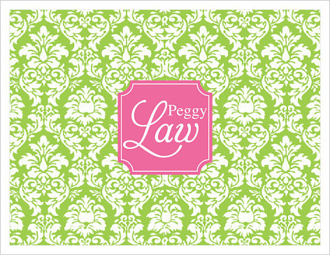 Note Cards - Playful Damask (Green and Hot Pink) Initial/Monogram or Name