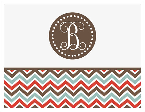 Note Cards - Polka Dots & Multi-Colored Chevron Stripes (Red, Brown, Blue and Gray) with Monogram or Initial