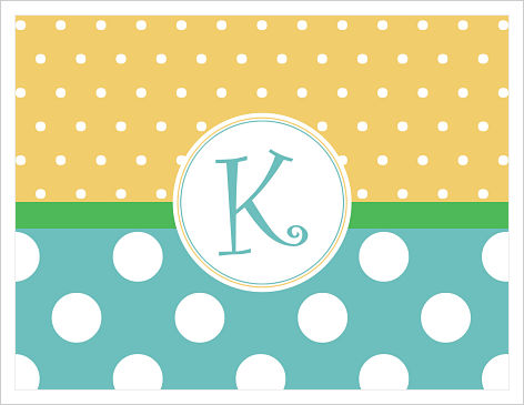 Note Cards - Small & Large Dots (Yellow and Turquoise) W/Initial or Monogram