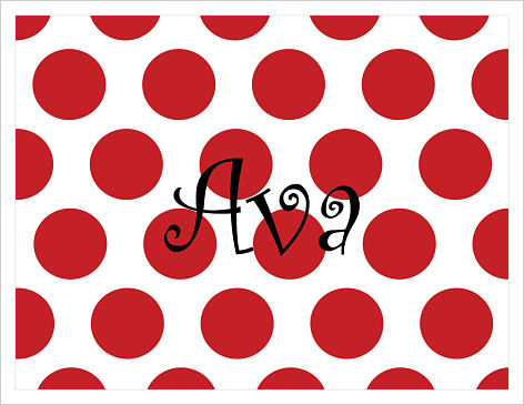 Note Cards - Really Big Red Polka Dots (Name)