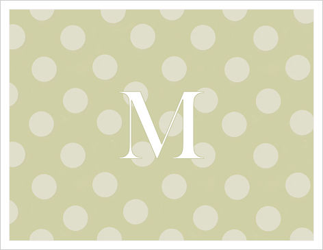Note Cards - Polkadot Sage with White Initial