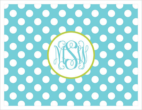 Note Cards - Blue and White Polka Dots (Monogram or Initial)