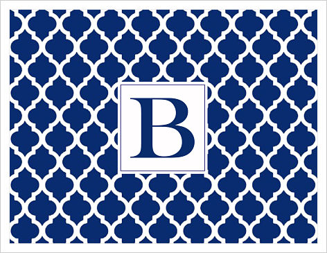 Note Cards - Quatrefoil (Navy and White) W/Initial or Monogram