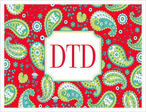 Note Cards - Red Paisley
