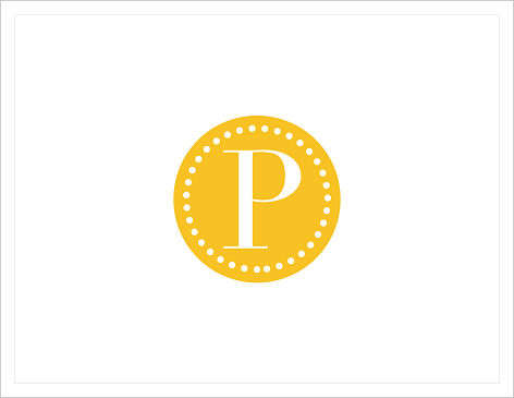 Note Cards - Sassy Circle, Polka Dots and Initial or Monogram (Yellow)