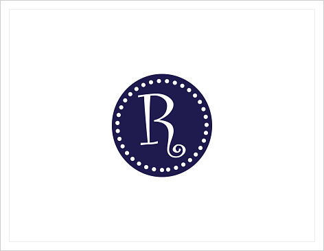 Note Cards - Sassy Circle And Dots W/Initial or Monogram (Navy Blue)