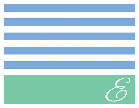 Note Cards - Sophisticated Stripes (Blue/Turquoise) Initial Or Name