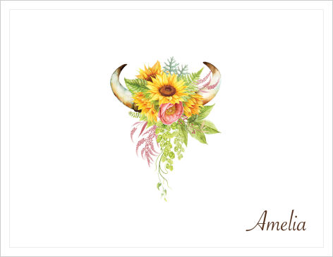 Note Cards - Sunflowers, Roses and Horns