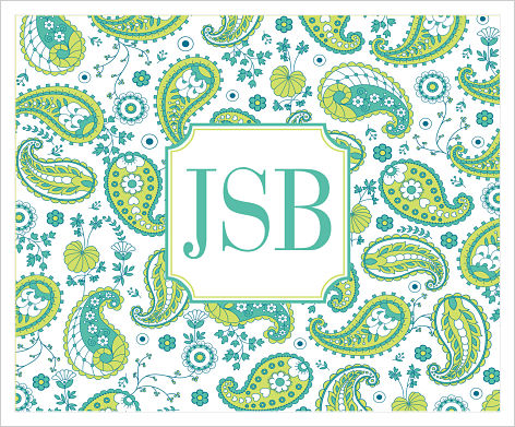 Note Cards - Teal and Green Paisley