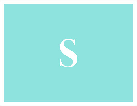 Note Cards - Solid Teal Blue w/Initial