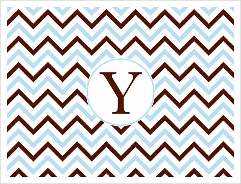 Note Cards - Thin Chevron Stripes (Blue, Brown and White)
