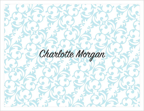 Note Cards - Timeless Ornamental - Blue and White (Name)
