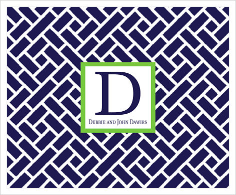 Note Cards - Trellis (Navy and White) Initial and Name