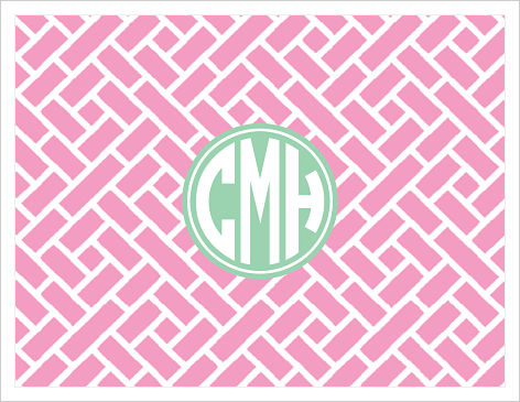 Note Cards - Trellis (Pink and White) And Monogram