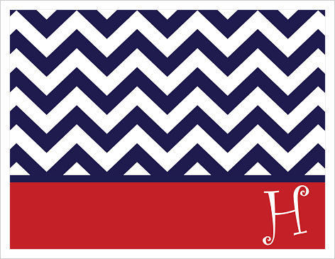Note Cards - Whimsical Navy Chevron Stripes (w/Red Border)