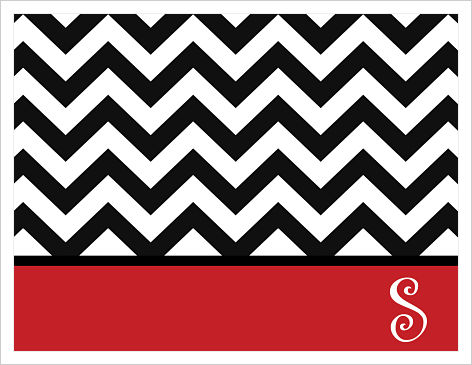 Note Cards - Whimsical Black Chevron Stripe (w/Red Border)