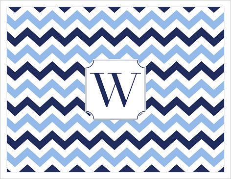 Note Cards - Wide Navy and Light Blue Chevron Stripes
