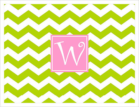 Note Cards - Wide Lime Green Chevron Stripes (Option 1)