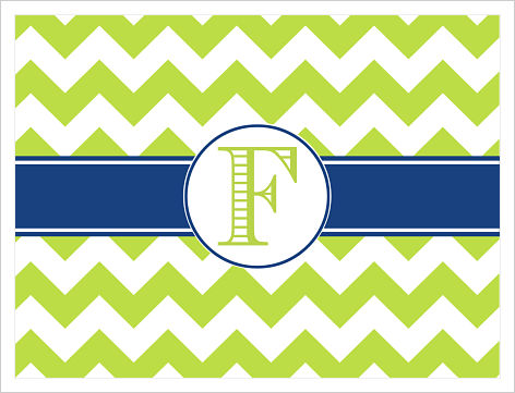 Note Cards - Wide Lime Green Chevron Stripes (Option 2)