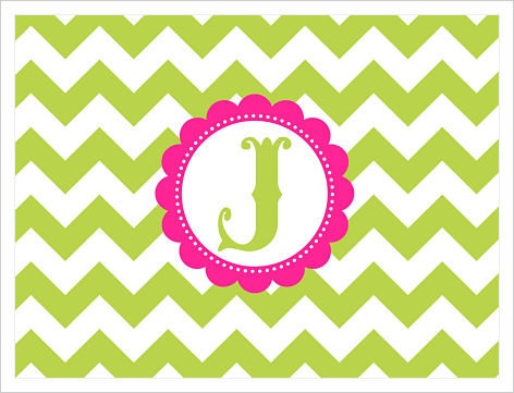 Note Cards - Wide Lime Green Chevron Stripes (Option 3)