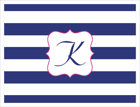 Note Cards - Wide Navy Blue and White Stripes