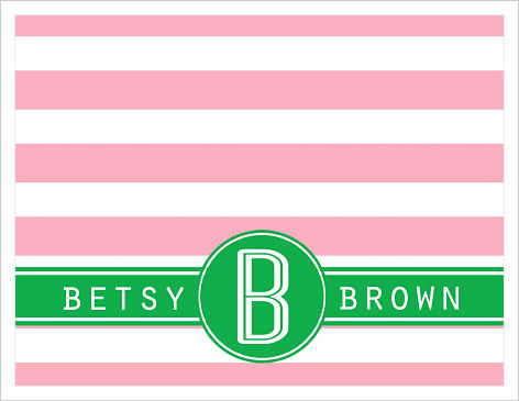 Note Cards - Wide Pink Stripes With Initial and Full Name