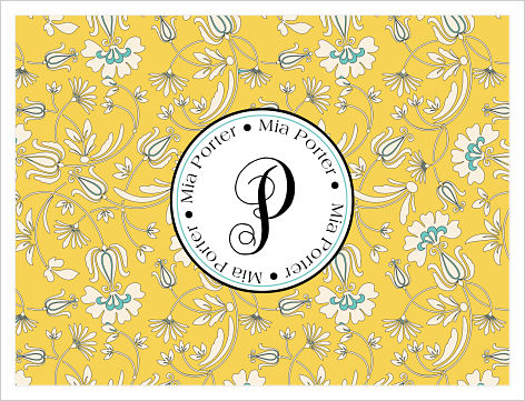 Note Cards - Yellow and Blue Floral Background (Option 2)