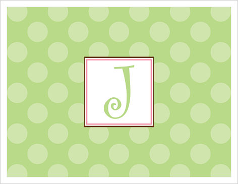 Note Cards - Solid Green Polka Dots