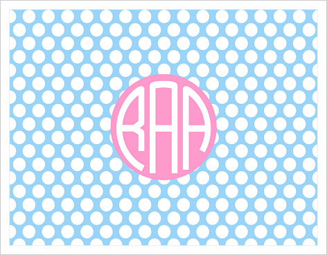Note Cards - Light Blue Polka Dots/Pink Frame/Monogram