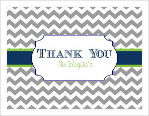 Note Cards - Gray Chevron Stripe Thank You)