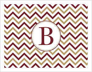 Note Cards - Chevron Stripes In FSU (Florida State Seminoles) Colors (Option 1-Initial)