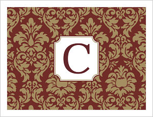 Note Cards - Damask Design In FSU (Florida State Seminoles) Colors