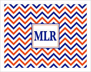 Note Cards - Chevron Stripes In University of Florida Colors  (Option 1 w/Monogram)